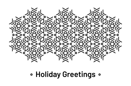 Ornamented Christmas greetings card. Modern geometric pattern with stylized stars