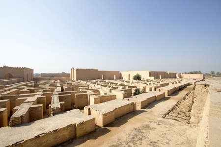 civilizations: A picture of some of the buildings of the city of Babylon in Iraq, And show where the city walls and some of the old building of the city.