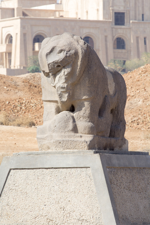 babylon: Picture of statue of the lion of Babylon in the ancient city of Babylon, and the lion is made of hard stone. Stock Photo