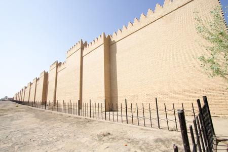 babylon: Picture of walls of the ancient city of Babylon in Babil Province South of Iraq, It is built on the model of the old Babylonian.