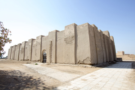 babylon: A picture of the outside of the Temple of ninmakh, The oldest temple in the ancient city of Babylon in Iraq. Stock Photo