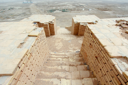 sumerian: : Image stairs in Ziggurat of Ur   and One of the most important monuments in Iraq and that goes back to the Sumerian period which are located in the province of Dhi Qar in southern Iraq.