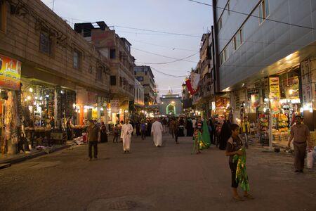 imam: Picture of preparations processions Hosseinieh to receive pilgrims to shrines in Kadhimiya to memorize the martyrdom of Imam Musa al-Kazim.