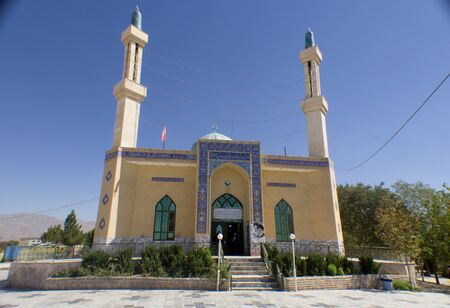 ibn: Picture of Shrine of Yahya ibn Musa Al Kazim in the Iranian city of neishabour, It is based on a mosque with one dome and two minarets.
