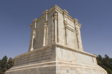 poet: Picture of mausoleum of poet Firdausi in the Iranian city of Mashhad and the shrine was built on the Roman style with a statue of the poet.