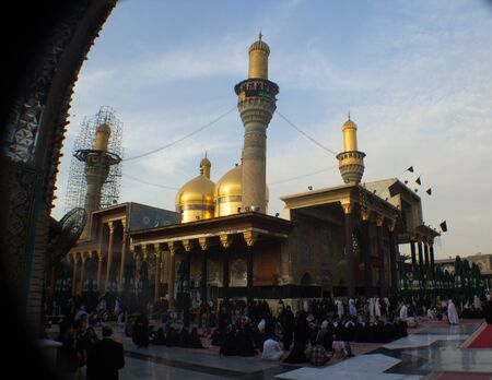 minarets: A picture of a Shiite shrine Musa alKadhim and his grandson Mohammed Jawad It is a shrine of two gold domes and four minarets and a large courtyard Located in the city of Kadhimiya in Baghdad. Editorial