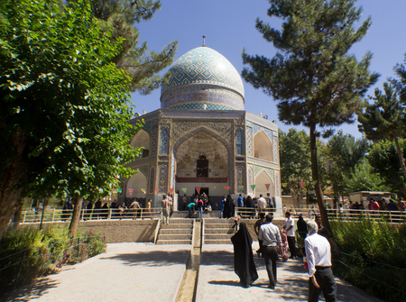 imam: Nishabour Iran   August 27 2014: Feet of Imam Reza shrine located in the city of neyshabur in Iran A mosque with six ribs Above the Dome decorated with Islamic inscriptions. Editorial