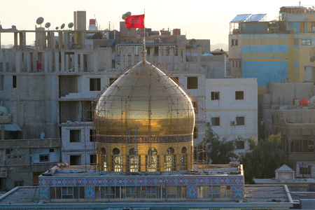 damascus: external shot for dome of Sayeda Zeinab shrine in Damascus capital of Syria, which showing the shrine with one golden dome.