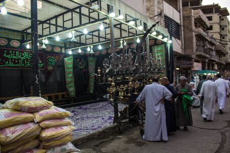memorize: Picture of preparations processions Hosseinieh to receive pilgrims to shrines in Kadhimiya to memorize the martyrdom of Imam Musa al-Kazim.