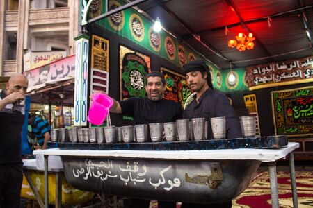martyrdom: Picture of preparations processions Hosseinieh to receive pilgrims to shrines in Kadhimiya to memorize the martyrdom of Imam Musa al-Kazim.