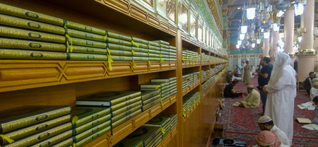 the prophets: Image for rack contains a number of copies of the Koran inside the Prophets Mosque in Medina in Saudi Arabia.
