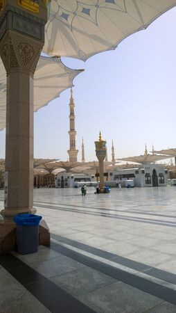 the prophets: An external image of the Prophets Mosque in Medina in Saudi Arabia, Show It shows umbrellas which protects from the sun and the minarets of the mosque.