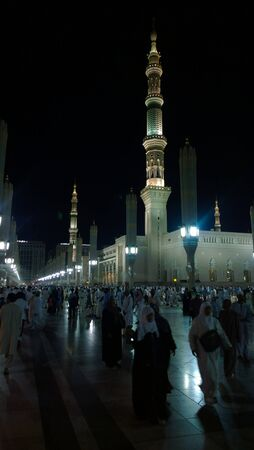 minarets: An external image of the Prophets Mosque in Medina in Saudi Arabia,  It shows the minarets  of the mosque. Editorial