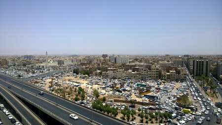 complexes: Aerial shot of the city of Medina in Saudi, Which show some streets and residential complexes. Editorial