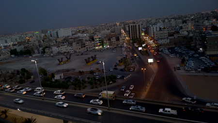 medina: Aerial shot of the city of Medina in Saudi, Which show some streets and residential complexes. Editorial