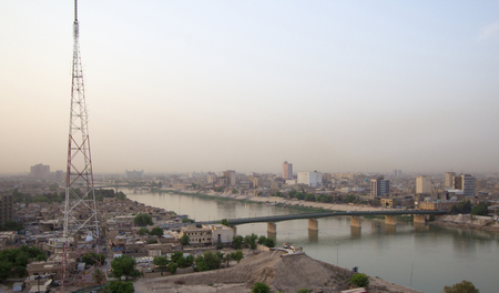 tigris: Aerial photo of the city of Baghdad, and shows where residential complexes and the Tigris River and bridges. The city of Baghdad, capital of Iraq.