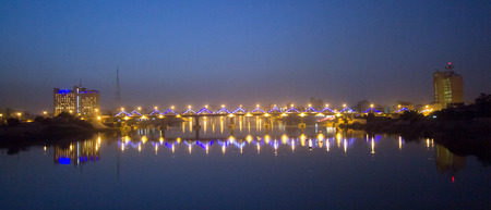 tigris: Picture of Sinak Bridge and the River Tigris in Baghdad at night in Iraq. Editorial