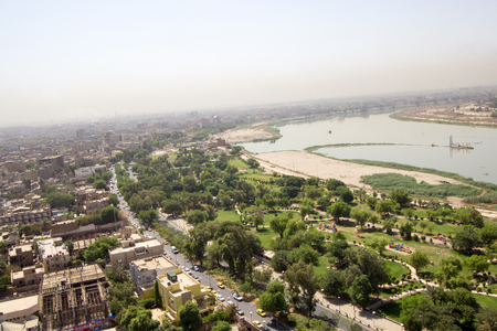river: Aerial photo of the city of Baghdad, and shows where residential complexes. The city of Baghdad, capital of Iraq.