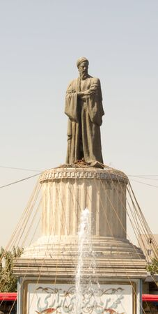 picture of the Statue of Abu Bakr al-Razi in the Iranian capital Tehran, One of the most prominent medical scientists, and it has a lot of books in the field. Editorial