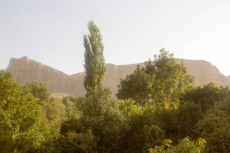 frequented: Beautiful tourist area containing waterfalls, mountains and plateaus, It is close to the city of Mashhad in Iran. Frequented by a lot of tourists during their visit to Iran. Editorial