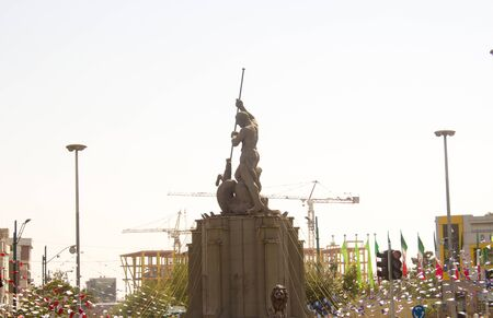 legendary: picture of one of Iranian mythology in the Iranian capital Tehran, statue show one of the legendary heroes kills one legendary monsters. Editorial