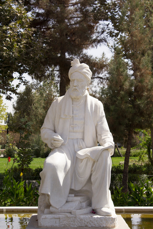 poet: Picture of statue of poet Firdausi in the Iranian city of Mashhad, North of Iran.