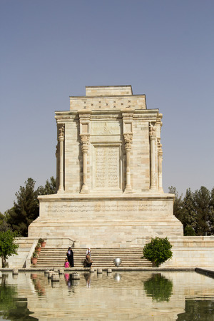 poet: Picture of mausoleum of poet Firdausi in the Iranian city of Mashhad, and the shrine was built on the Roman style with a statue of the poet.