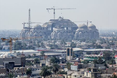 regime: Photo of AlRahman Mosque in Baghdad ,It is under construction, It was built during the reign of Saddams regime and It has not been completed .