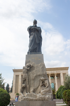 statue of the poet Fuzuli in Baku in Azerbaijan, Often considered one of the greatest contributors to the Dîvân tradition of Azerbaijani literature, Fuzuli in fact wrote his collected poems (dîvân) in three different languages: in his native Azerbaija