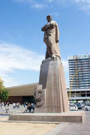 statue of the poet Jafar Jabbarli Statue in Baku in Azerbaijan, was an Azerbaijani playwright, poet, director and screenwriter.