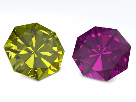 yellow and purple diamonds briliant isolated on white background.