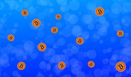 Bitcoins illustration design on white bubbles blue background.