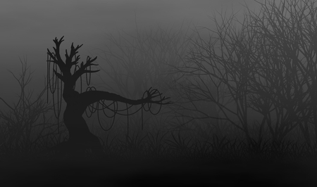 Scary creepy trees forest in the dark illustration design background.