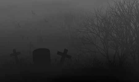 Creepy trees in grave yard at night, so scary and lonely, illustration horror concept design background.