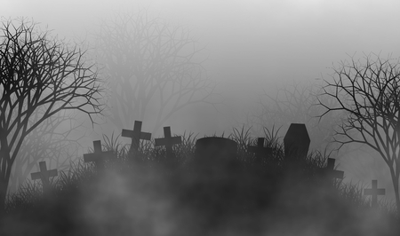 Cemetery in the mist illustration design background with crosses and coffin on grass field and creepy forest.