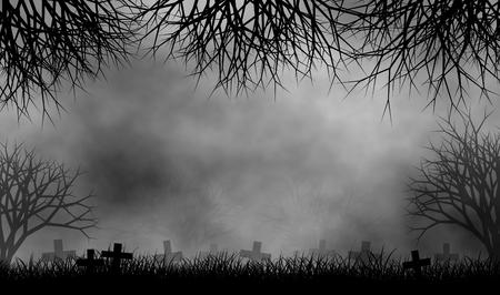 Horror begraafplaats in griezelig bomen bos op mistige dag afbeelding ontwerp achtergrond. Stockfoto