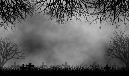 Horror cemetary in creepy trees forest in foggy day illustration design background.