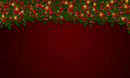 Christmas theme with beautiful of led lights on fresh chirstmas berries and pine branches on red background. Stock Photo