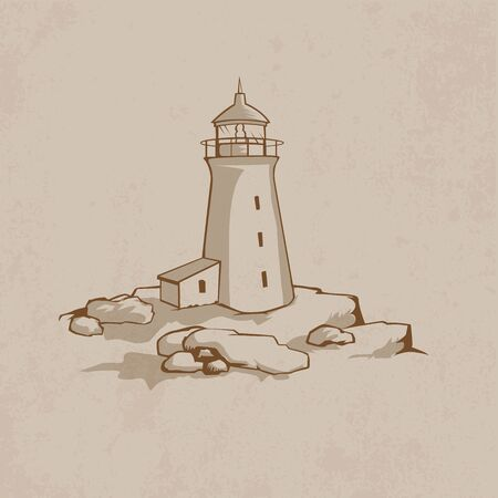 Lighthouse on the rock Stock Vector - 15465642