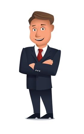 hombre caricatura: Empresario de pie a solas con los brazos cruzados