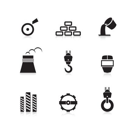 Industria del metal icon set Ilustración de vector