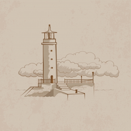 waterway: Lighthouse with cloud