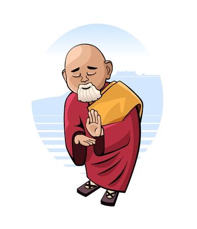 Cartoon figure of praying monk
