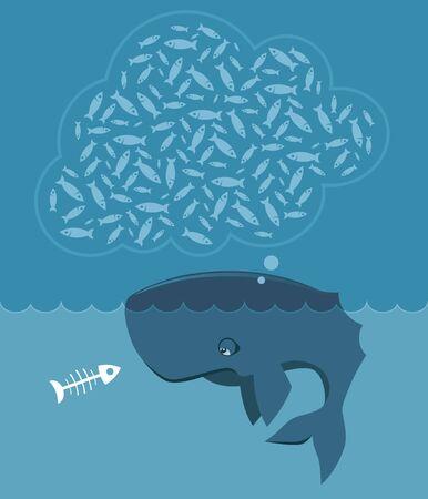 sea mammal: Huge sea mammal is hungry and it makes it sad