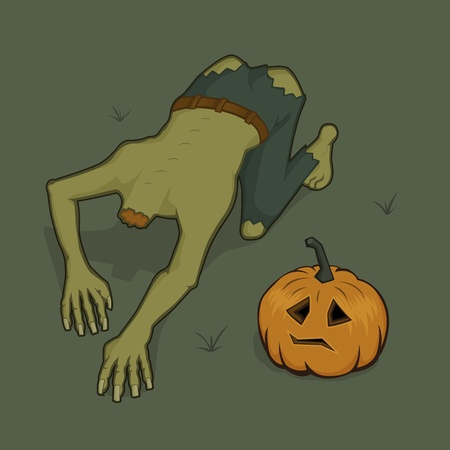Zombie is looking for his pumpkin head Vector