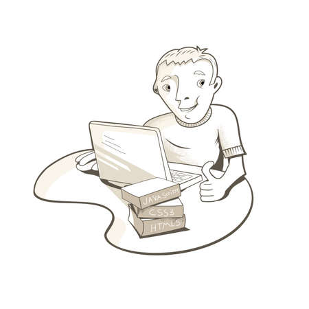 Illustration of a happy man, using a laptop