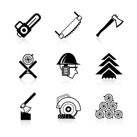 Ikony przemysłu drzewnego ustawić Ilustracje wektorowe