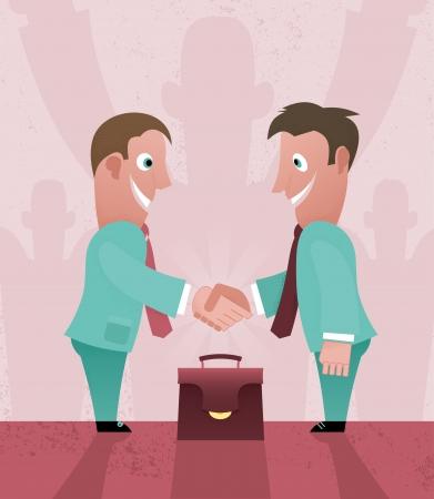 Two cartoon businessman handshaking Ilustrace