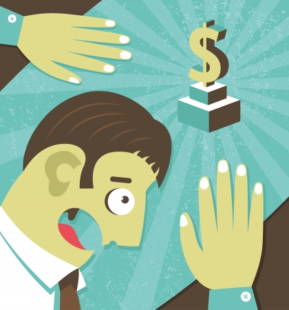 Businessman possessed by money greed