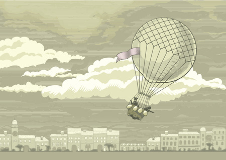 Aerostat flying in the sky over the old European city Illustration
